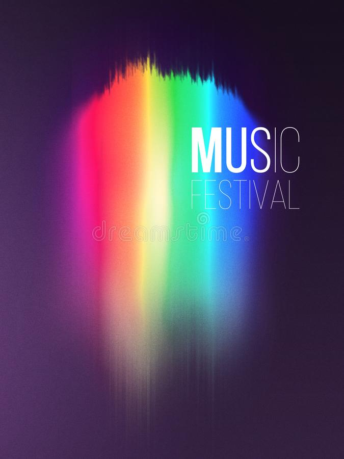 Music wave festival poster design. Sound flyer with abstract gradient line waves. stock photo