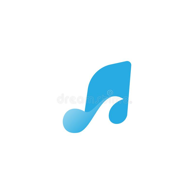 Music Wave and Ocean Music Logo Design Template stock illustration