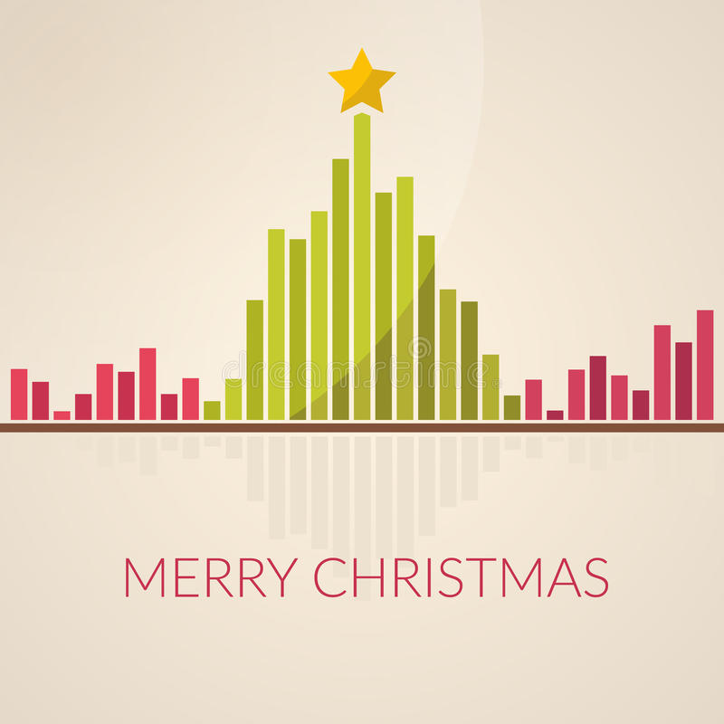 Music waveform as christmas tree. Sound of Christmas. Flat design royalty free illustration