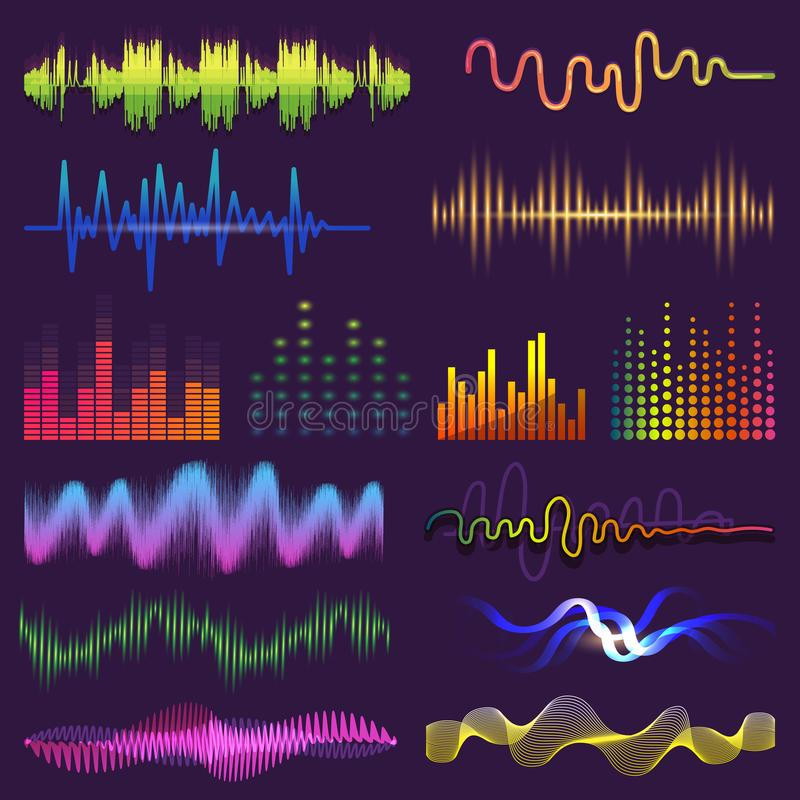 Music waves of sound on radio vector audio sounding waveform and wavelength of soundtrack and waved voice with soundwave. Volume illustration vector illustration