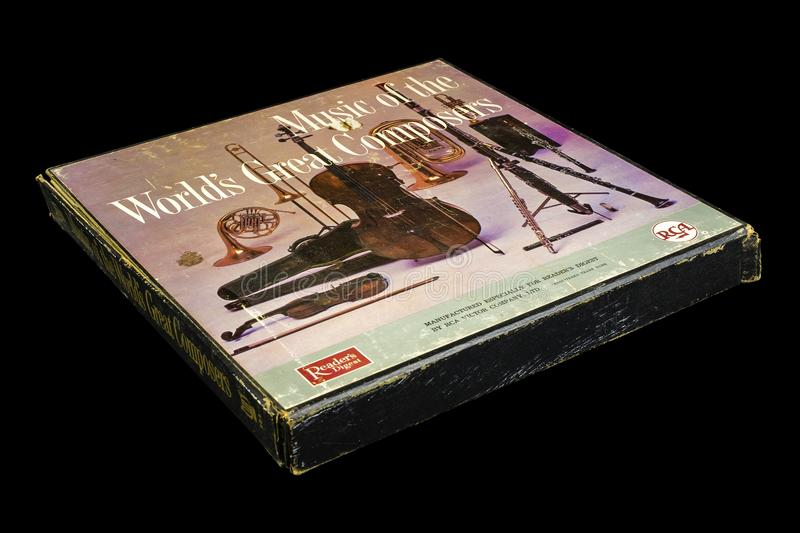 Music of the World`s Greatest Composers. ~ Box Set ~ 12 Vintage LP`S ~RCA Records RCA Records is an American flagship recording label alongside Columbia Records royalty free stock photography