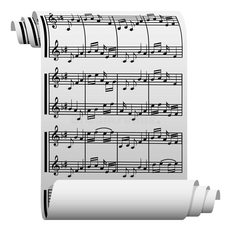 Music written on paper. Illustration of music written on paper on a white background stock illustration