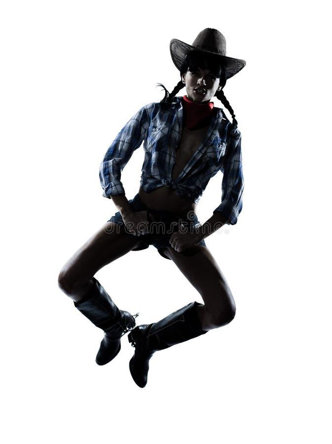 Musica country felice di dancing del danzatore della ragazza della mucca della donna fotografia stock libera da diritti