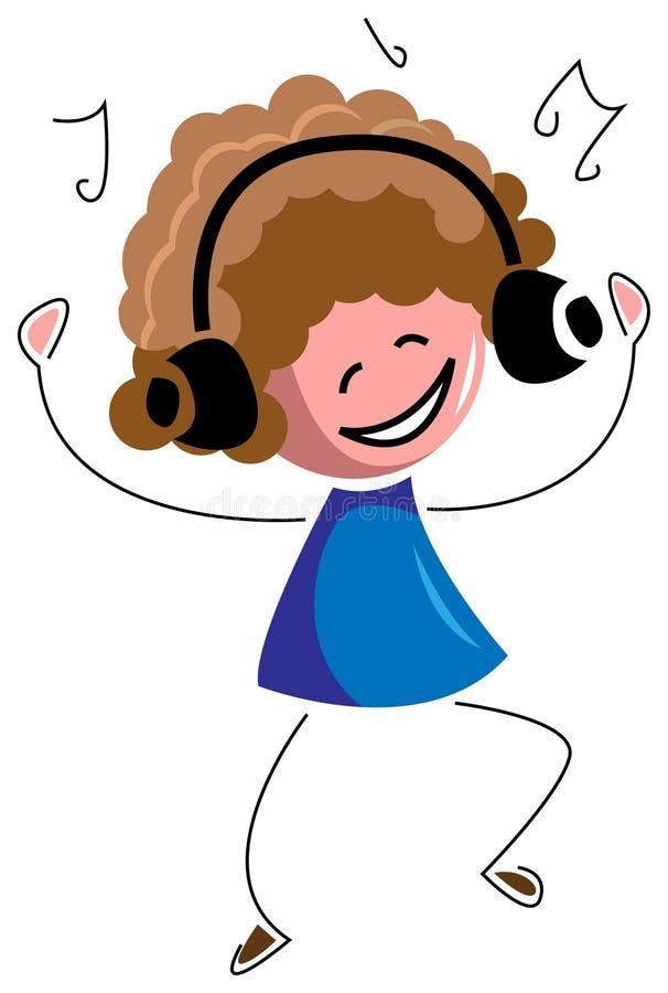 Musica d'ascolto del bambino con il ballo royalty illustrazione gratis