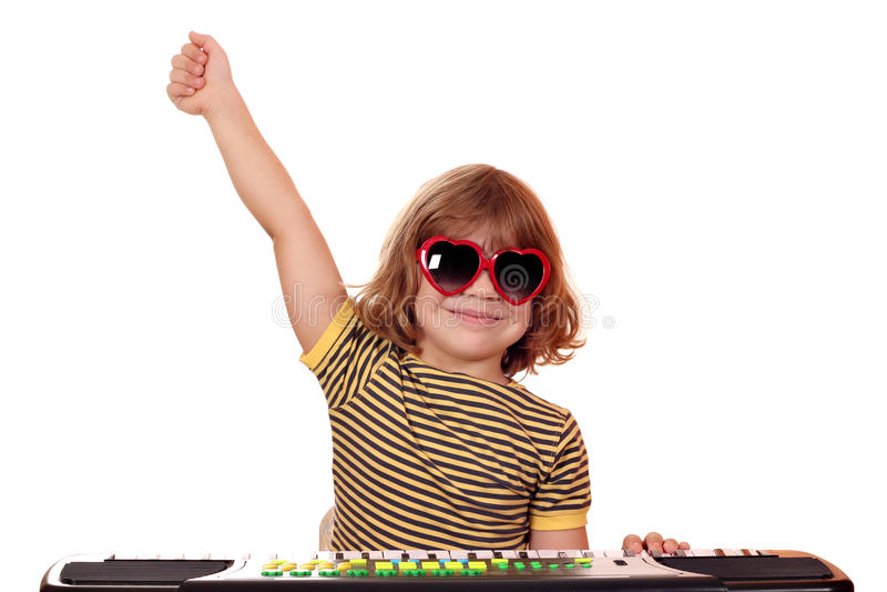 Musica del gioco da bambini sulla tastiera fotografia stock libera da diritti