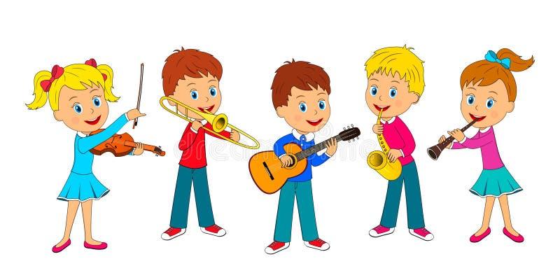 Musica del gioco delle ragazze e dei ragazzi illustrazione vettoriale