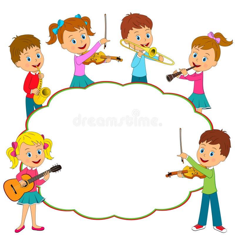 Musica del gioco delle ragazze e dei ragazzi royalty illustrazione gratis