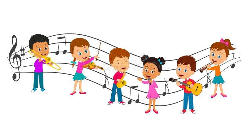 Musica del gioco delle ragazze e dei ragazzi illustrazione di stock