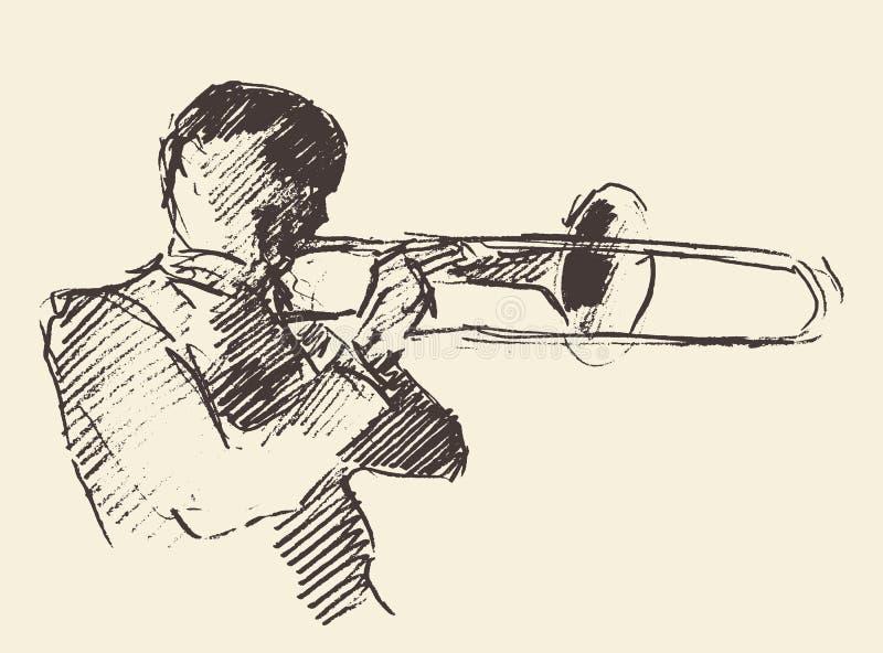 Musica del trombone del manifesto di jazz acustica illustrazione di stock