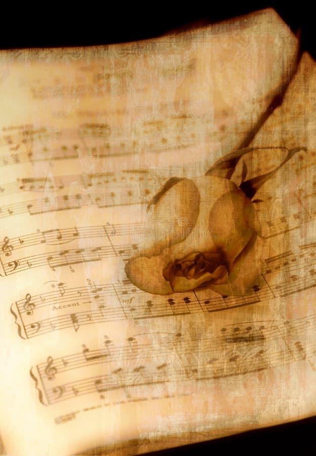 Musica dell'annata con Rosa illustrazione di stock