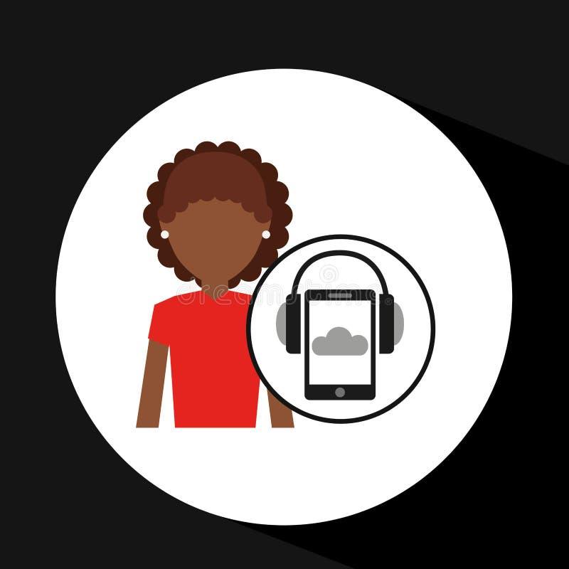 Musica delle cuffie dello smartphone della ragazza di afro online illustrazione vettoriale