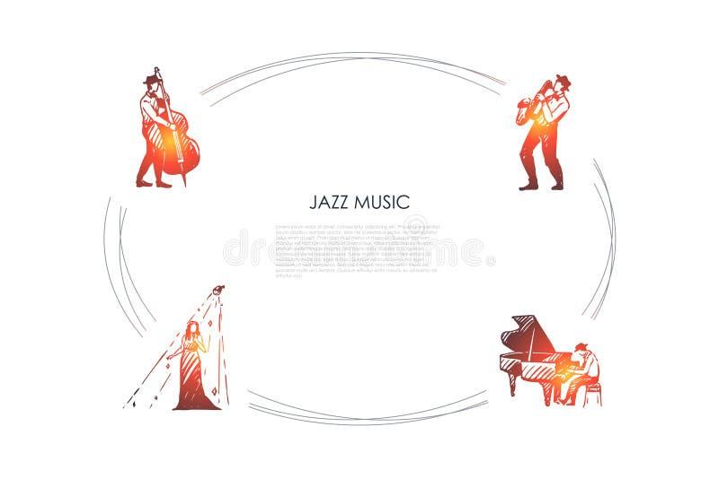 Musica di jazz - insieme di concetto di vettore del violoncellista, del sassofonista, del pianista e del cantante royalty illustrazione gratis