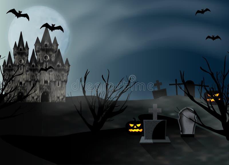 Musica di notte Castello e cimitero con le lapidi alla luna piena del fondo Manifesto o insegna per il partito e la vendita Vetto royalty illustrazione gratis