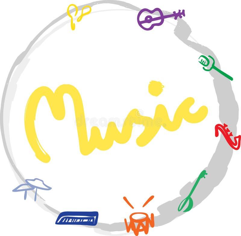 Musica di parola e cerchio disegnato a mano con le siluette degli strumenti Illustrazione di vettore carta, insegna, progettazion illustrazione di stock