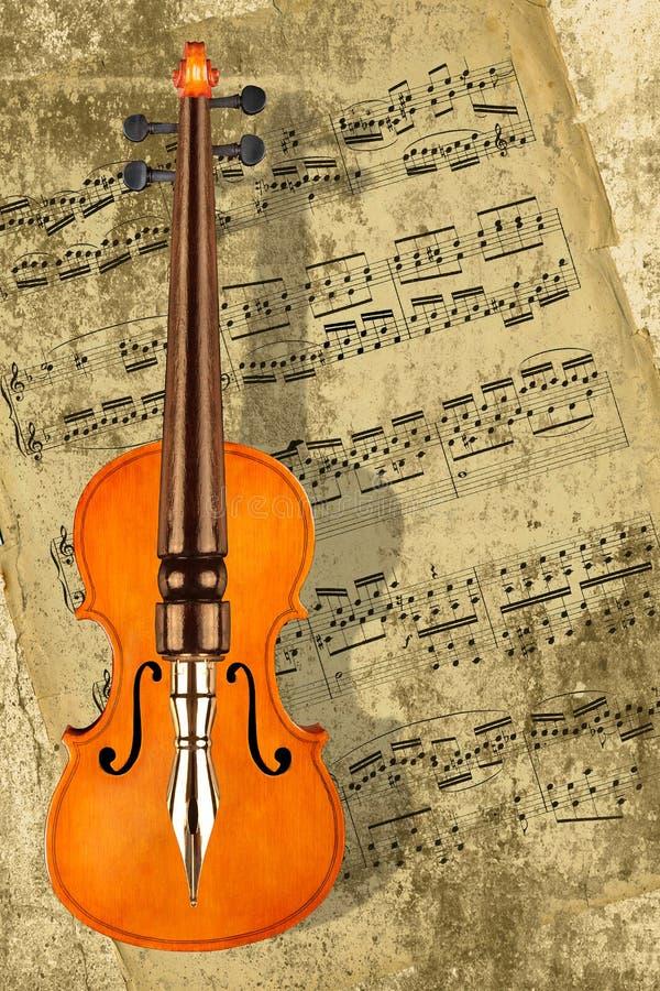 Musica di scrittura per il violino fotografie stock