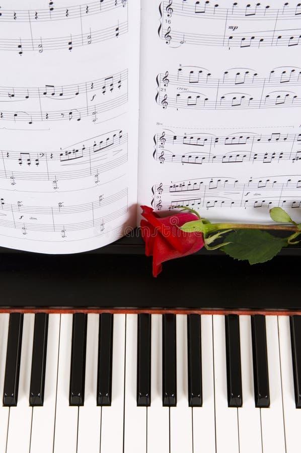 Musica di strato con Rosa sul piano immagine stock libera da diritti