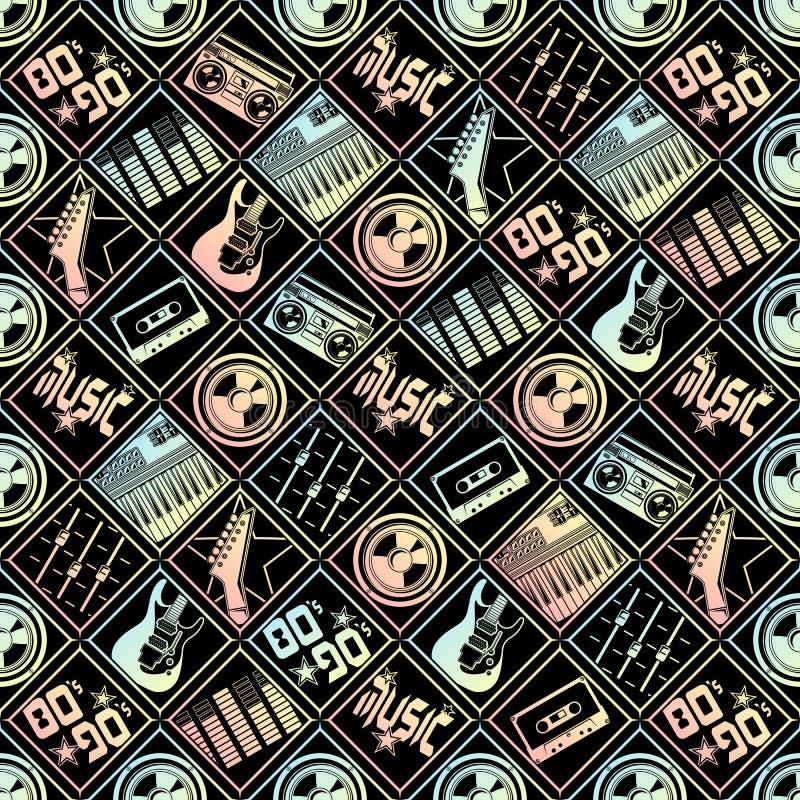 Musica di vettore del modello degli anni 80 90s immagine stock