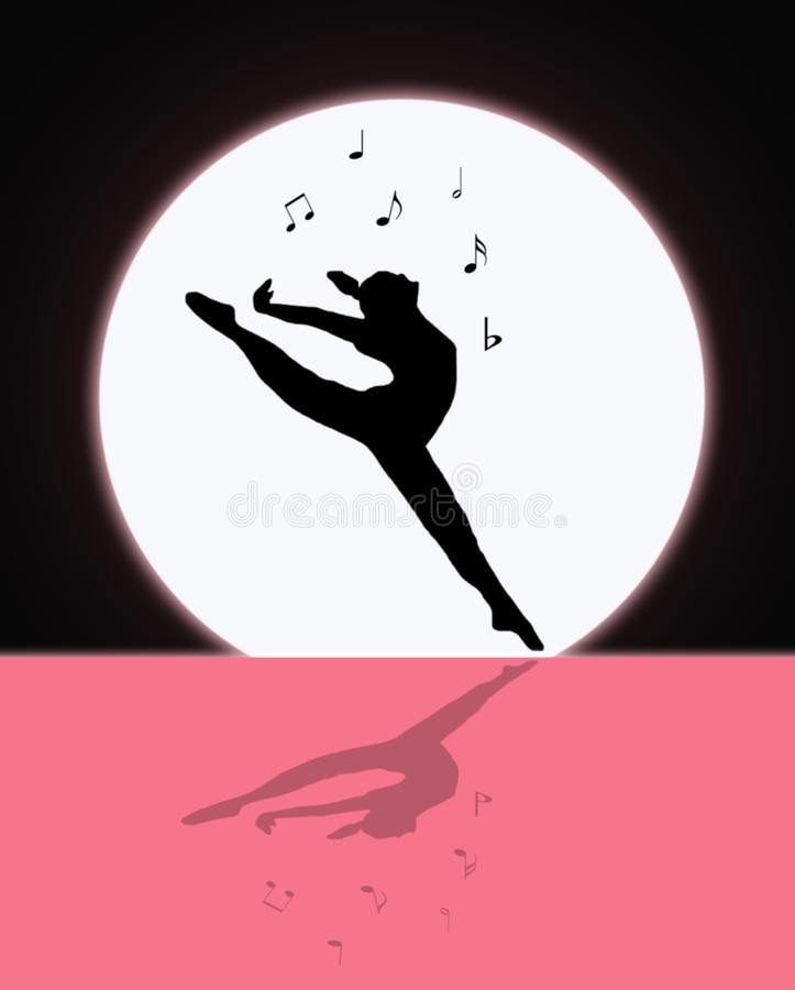 Musica e ballo nella luce della luna illustrazione vettoriale
