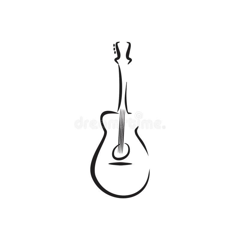 Musica unica dell'illustrazione della chitarra acustica della roccia illustrazione vettoriale