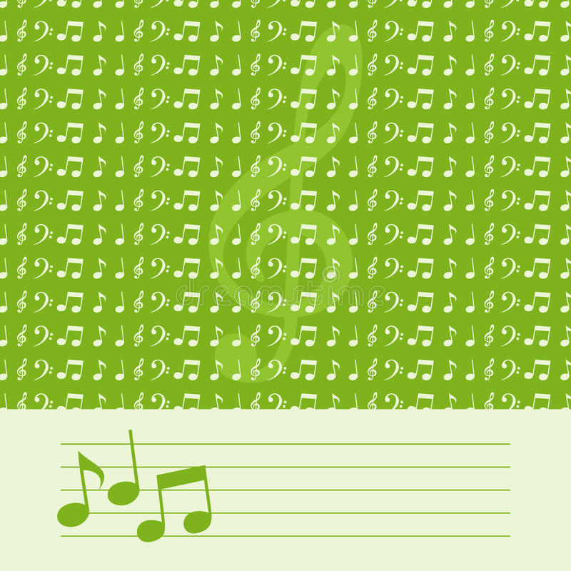 Musical background. Of green colour. A illustration royalty free illustration