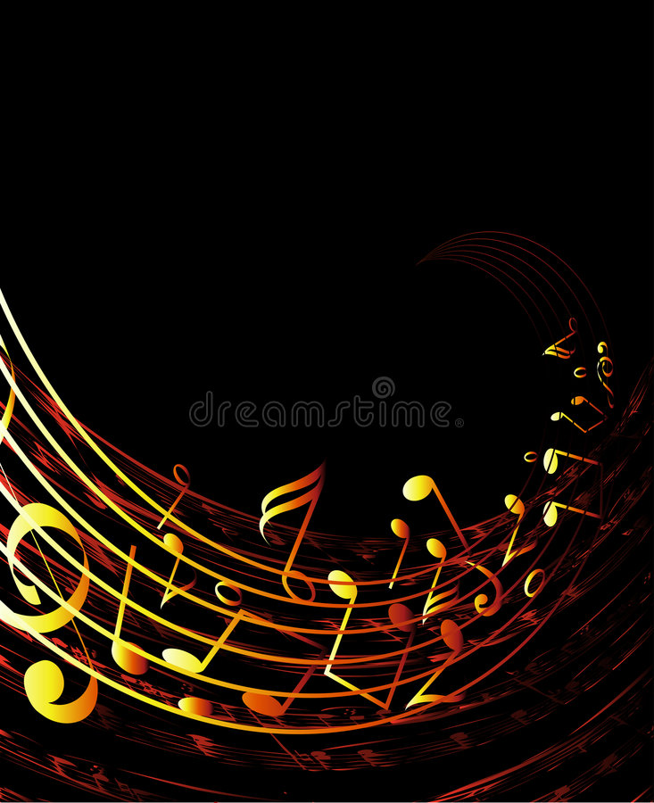 Musical background. Musical notes wave background vector stock illustration