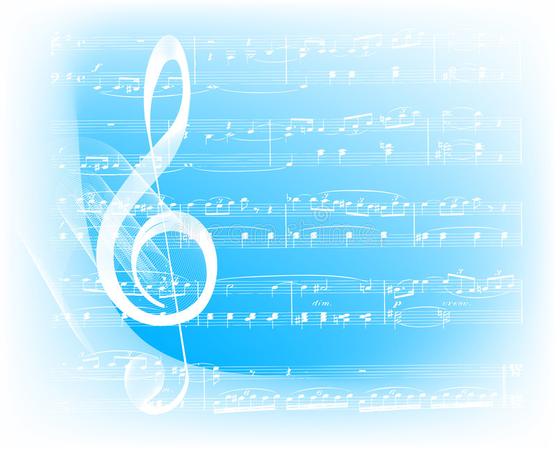 Musical background. Musical notes on blue background stock illustration