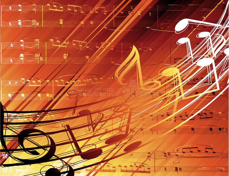 Musical background. Vector background with musical notes stock illustration