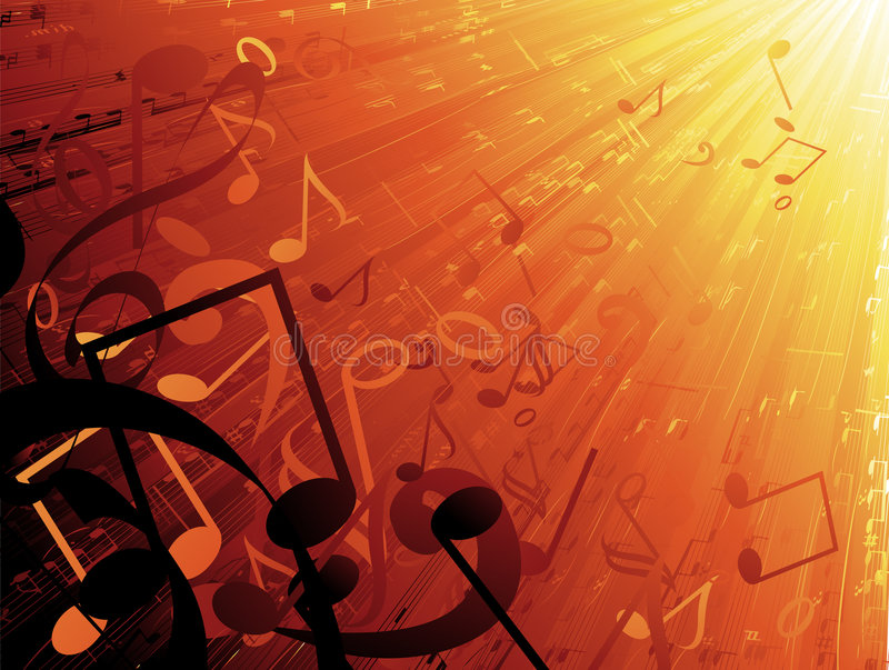 Musical background. Flying musical notes into the sun vector illustration