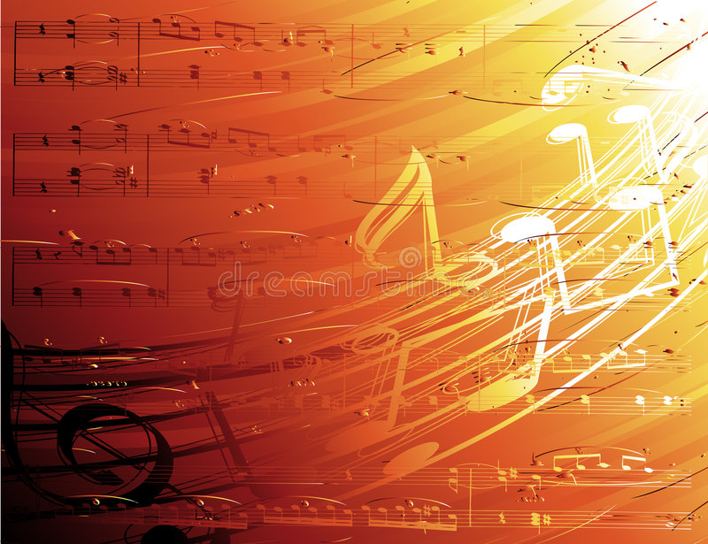 Musical Background. An illustrated musical background with an abstract design of musical notes on orange and red shades vector illustration