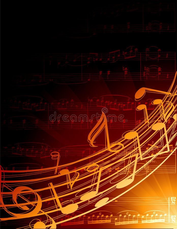 Musical background. Vector background with music notes and rays vector illustration