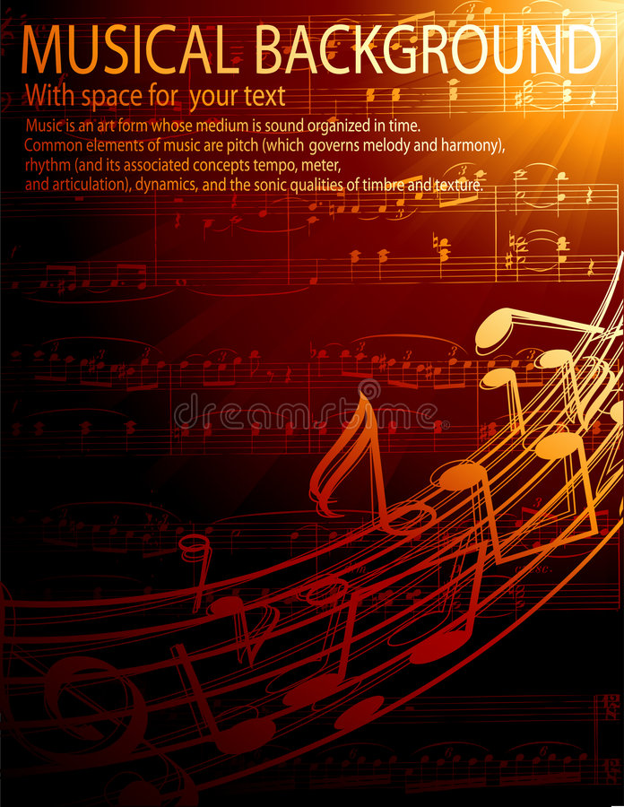 Musical background. Vector background with music notes stock illustration