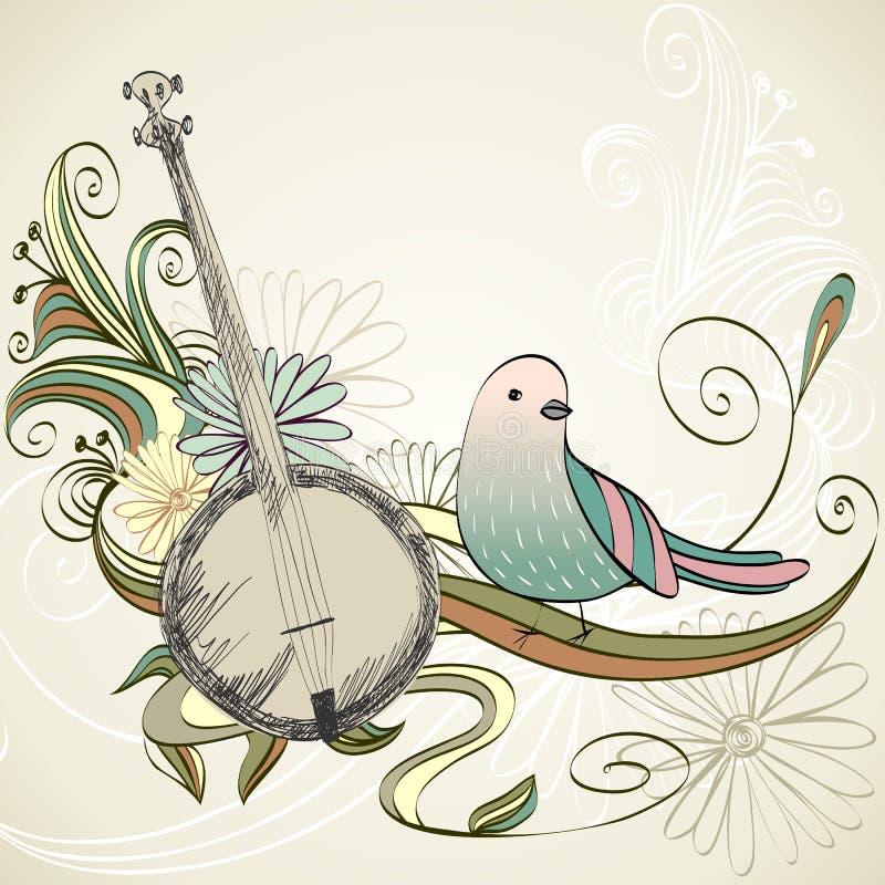 Musical background. Banjo vector illustration