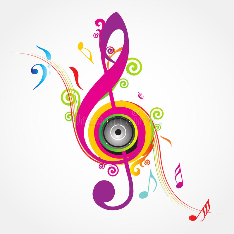 Musical Background with fly clefs. Colorful music background with fly clefs stock illustration