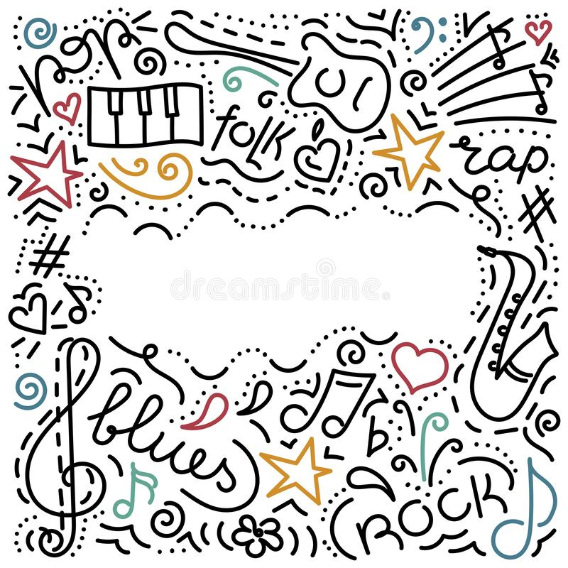 Musical background.hand drawn. Music symbols . Doodle style. Vector illustration vector illustration