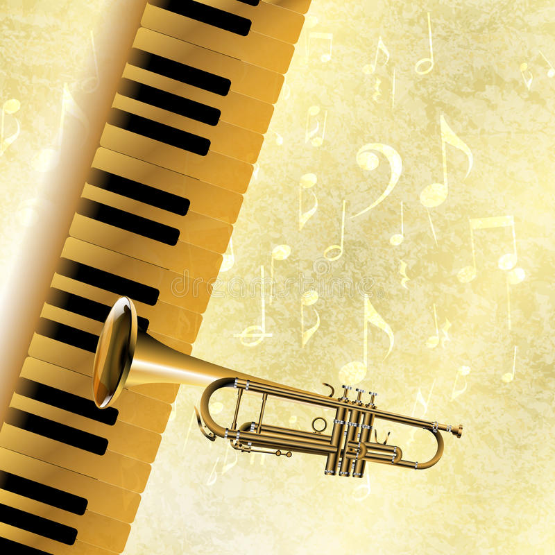 Musical background piano keys and trumpet jazz. Vector musical background piano keys and trumpet in the jazz texture with musical notes and signs.It can be used royalty free illustration