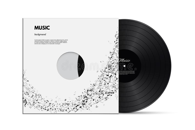 Musical background with vinyl disc and cover with black notes isolated on white background. Vector illustration for stock illustration