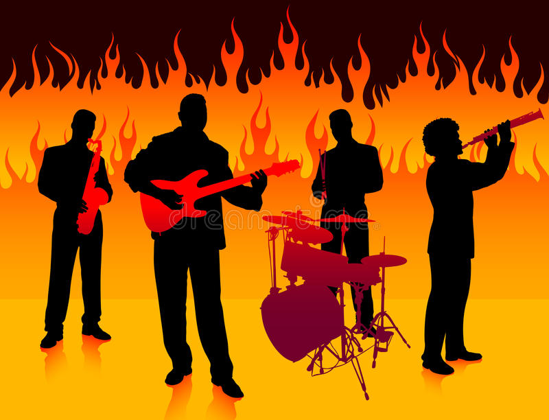 Download Musical Band in Hell stock vector. Image of orange, people - 12301128