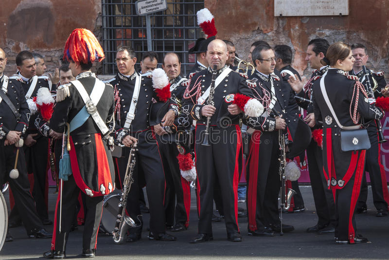 Musical band. Italian Carabinieri musicians waiting for their performance. A group of Italian carabinieri are waiting to start to play their instruments. May royalty free stock images