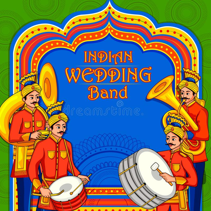 Musical band performing in barati on Indian wedding occasion stock illustration