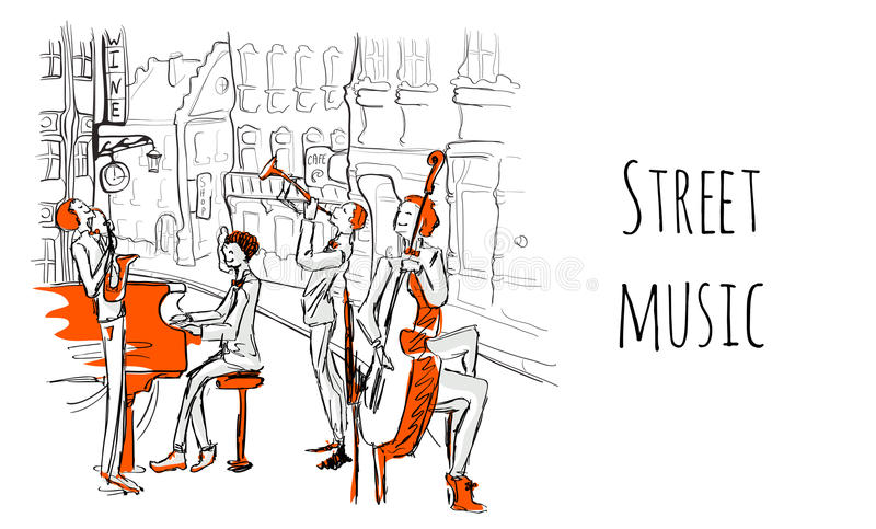 A musical band of street musicians. The Quartet plays jazz on a city street. Vector illustration in sketch style. royalty free illustration