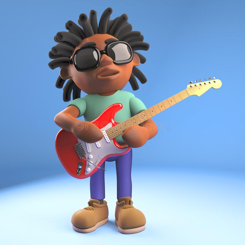 Musical black Afro Caribbean man with dreadlocks playing electric guitar, 3d illustration stock illustration