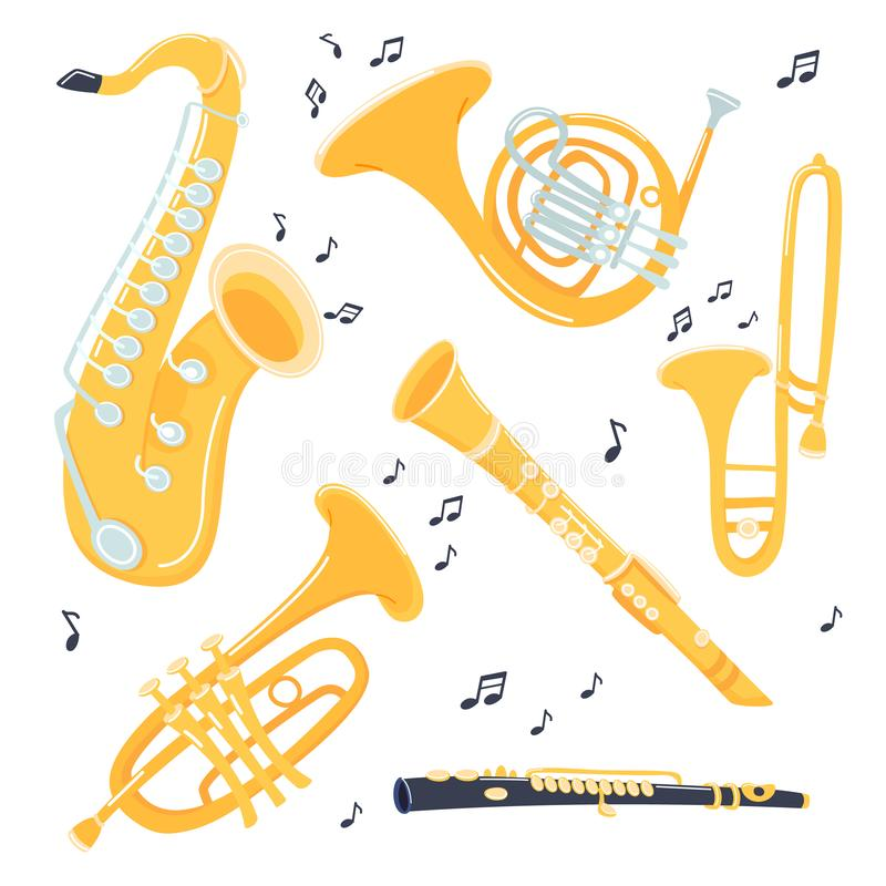 Musical brass Instruments collection. Jazz gold objects. Trumpet and saxophone, trombone and flute, clarinet and French vector illustration