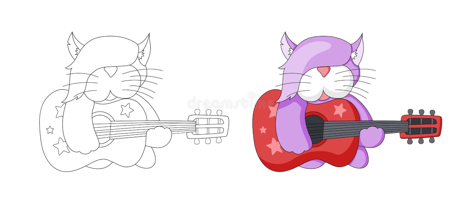 Musical cartoon animal. Childish cat with guitar. Coloring book page for kids vector illustration
