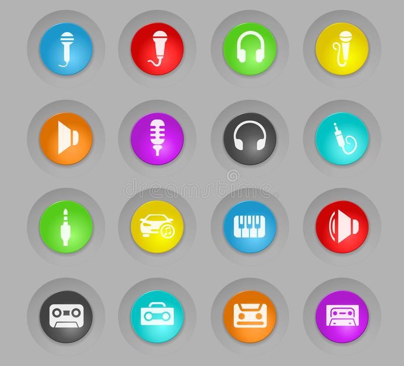 Musical colored plastic round buttons icon set. Musical colored plastic round buttons web icons for user interface design vector illustration