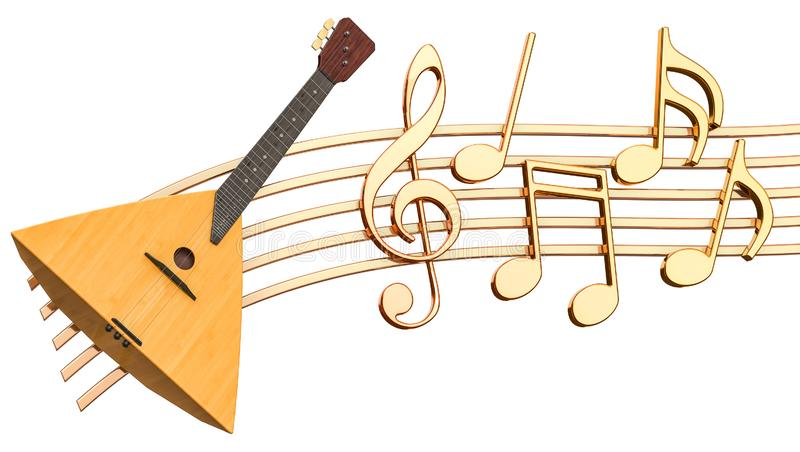 Musical concept. Balalaika with music notes, 3d rendering stock illustration