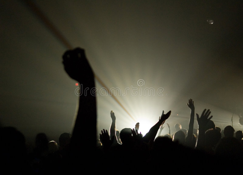 Musical Concert - Christian - with uplifted hands worshipping stock photo