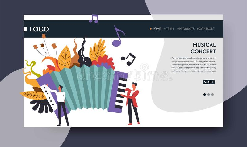 Musical concert web page template harmonic or accordion. Harmonic or accordion music concert web page template vector musical instrument folk genre melody and stock illustration