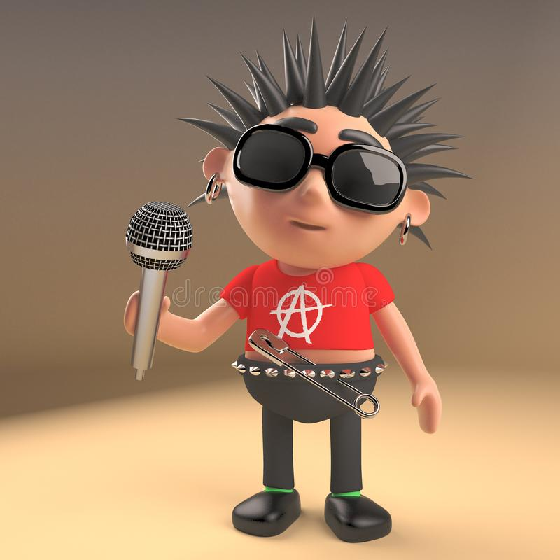 Musical 3d punk rocker character with spikey hair singing into a microphone, 3d illustration. Render stock illustration