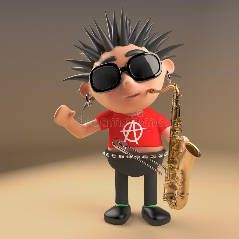 Musical 3d punk rocker with spikey hair playing a saxophone, 3d illustration. Render stock illustration