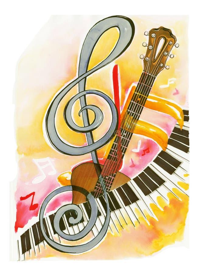 Musical del piano y de la guitarra con el vintag del fondo de la pintura de la nota libre illustration